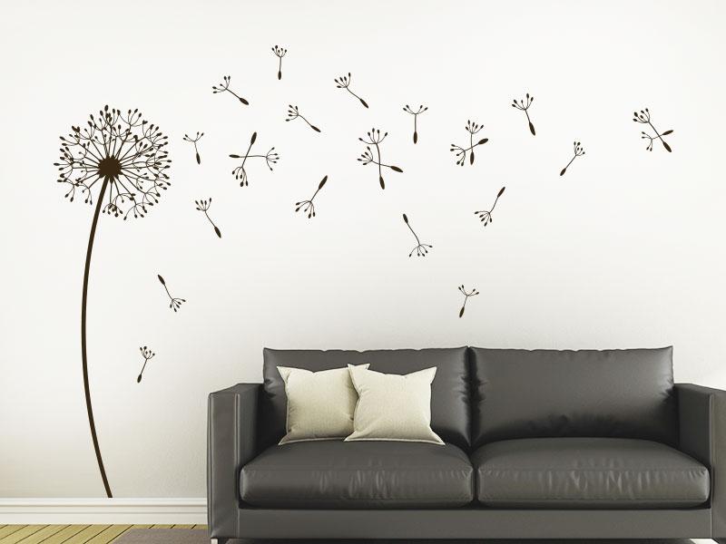 wandtattoo einzelne pusteblume mit samen von klebeheld. Black Bedroom Furniture Sets. Home Design Ideas