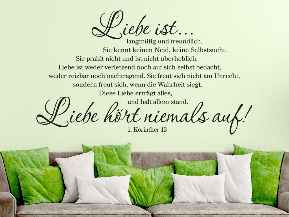 Wandtattoo Das Hohelied der Liebe 1 Korinther 13 - Liebe hört niemals auf