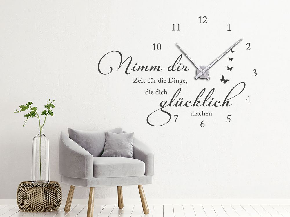 Wandtattoo Uhr Nimm dir Zeit