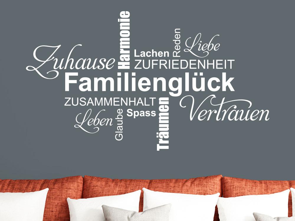 Wandtattoo Familienglück Wortwolke