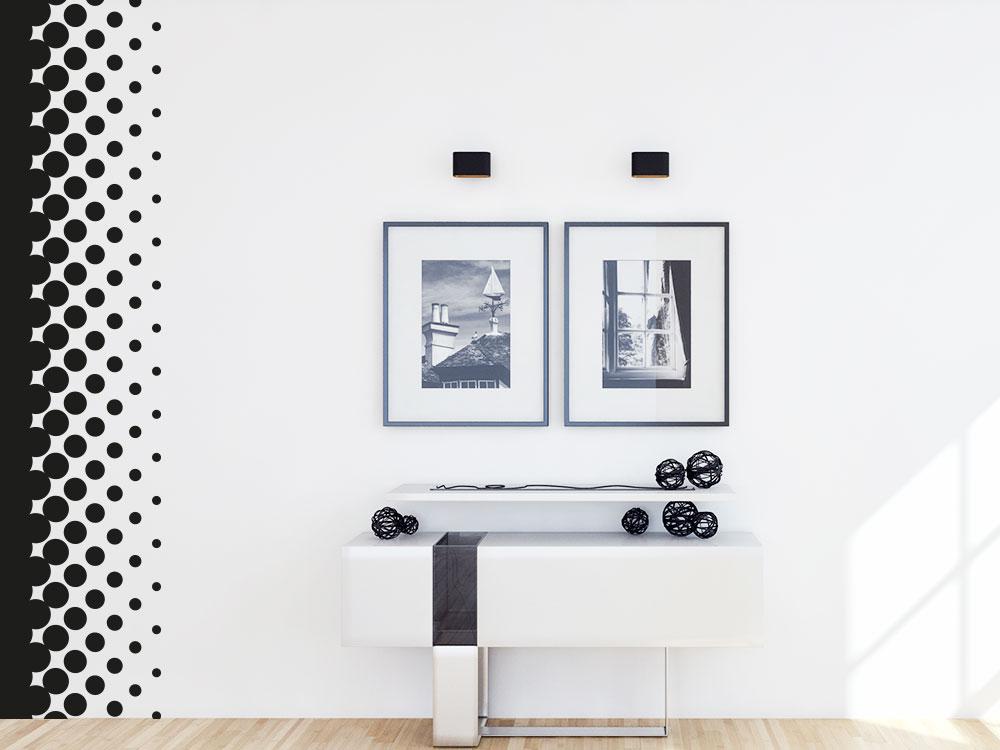 Wandtattoo Wandbanner Design Dots im Flur in der Farbe Schwarz