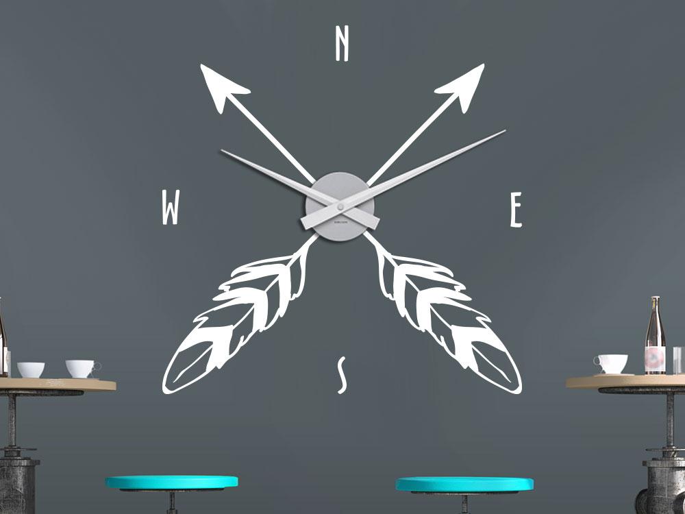 Wandtattoo Wanduhr Kompass Pfeil mit Feder in Farbe weiß