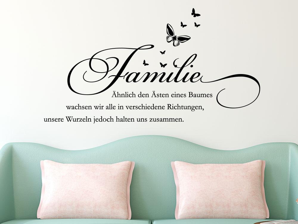 Wandtattoo Familien Spruch - Ähnlich den Ästen eines Baumes...