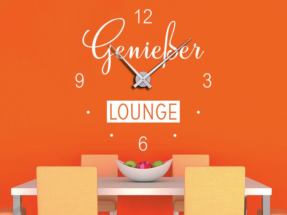 Wandtattoo Genießer Lounge Wanduhr in Weiss über Esstisch
