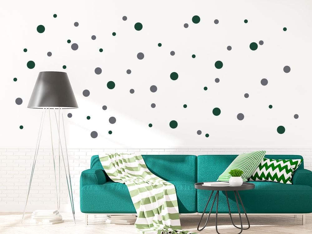 zweifarbig Wandtattoo Konfetti Punkte im Wohnzimmer