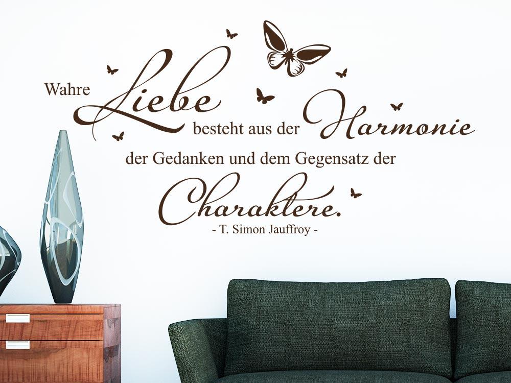 Wandtattoo Zitat Wahre Liebe besteht aus der Harmonie im Wohnzimmer