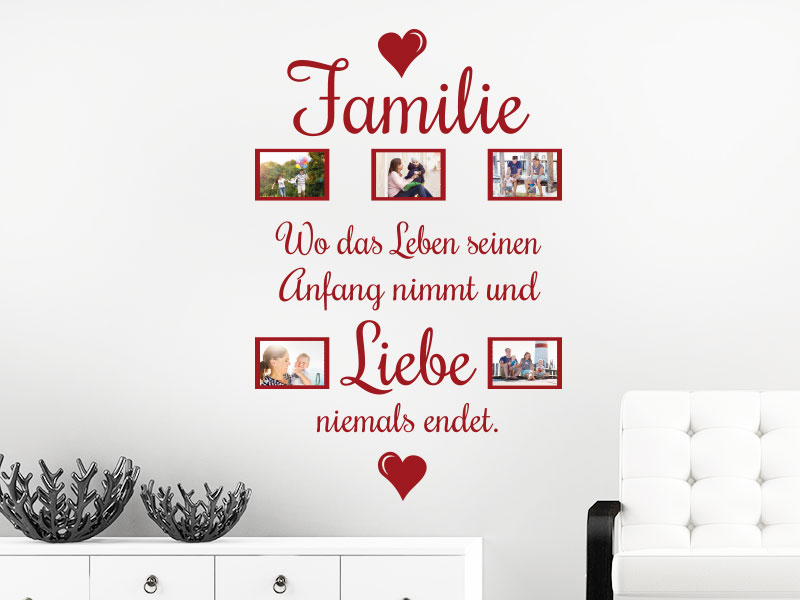 wandtattoo fotorahmen wo die liebe klebeheld de. Black Bedroom Furniture Sets. Home Design Ideas