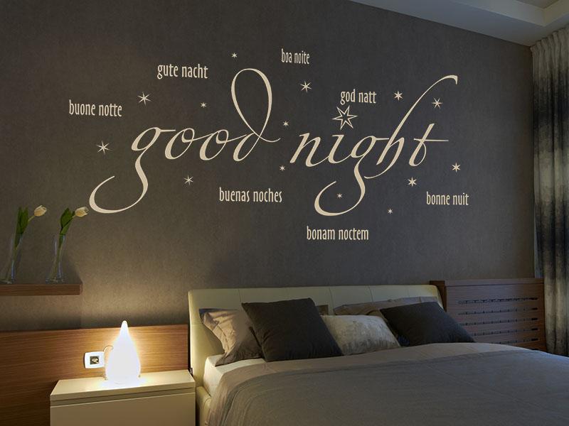 Wandtattoo Good Night in verschiedenen Sprachen