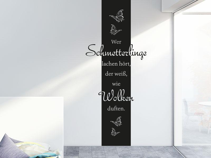 Wandtattoo Banner Wer Schmetterlinge lachen hört