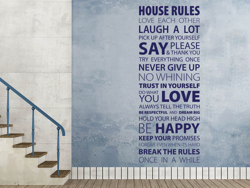 Wandtattoo Banner House Rules