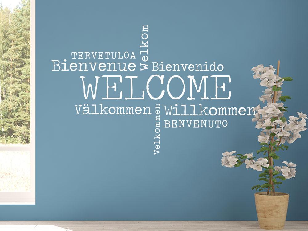 Wandtattoo Welcome in 9 verschiedenen Sprachen