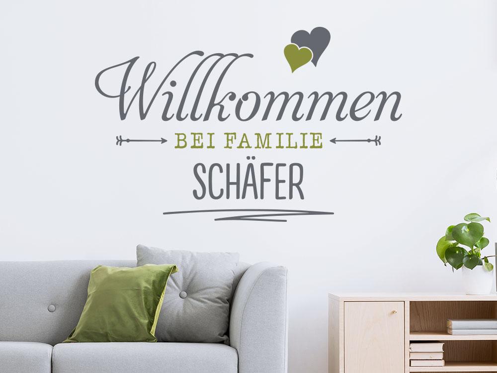 Wandtattoo Willkommen bei Familie
