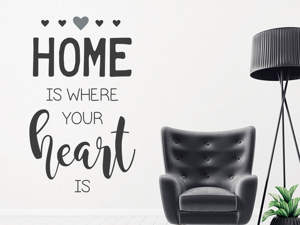 Englischer Wandtattoo Spruch  Home is where your heart is