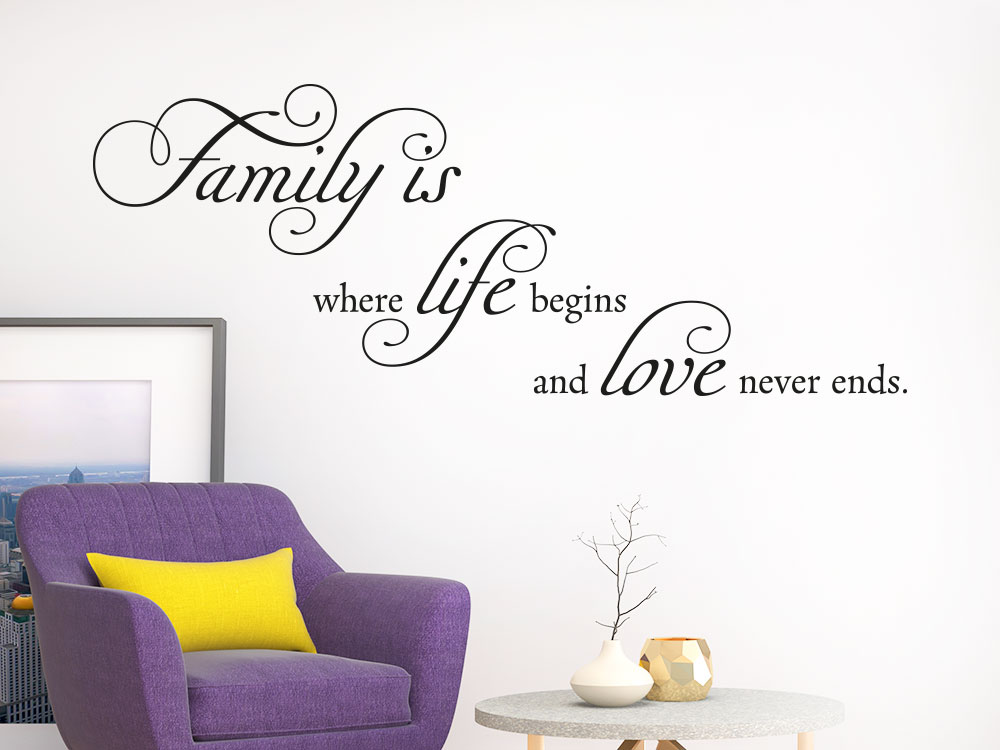 Wandtattoo Spruch Family is where life im Wohnzimmer helle Wand