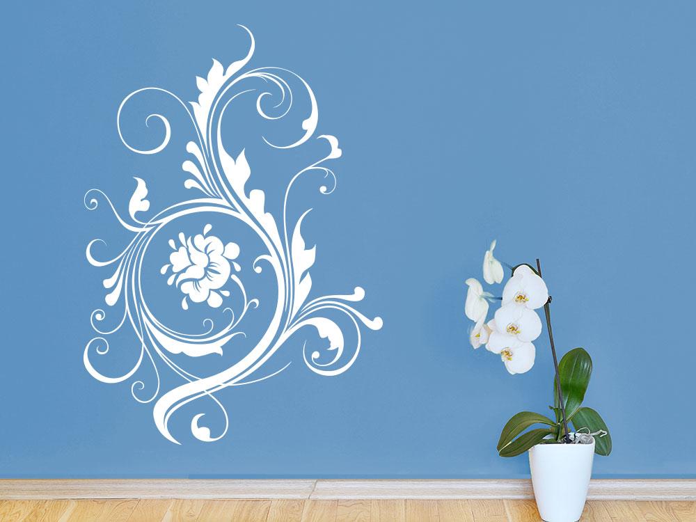 Wandtattoo Großes Blütenornament auf blauer Wand