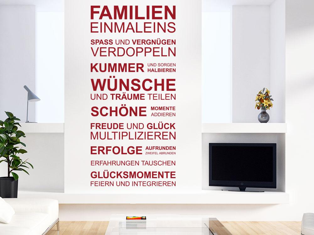 Wandtattoo Familien Einmaleins im Wohnzimmer in Farbe Rot
