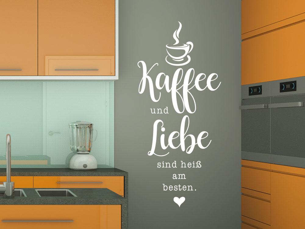 Wandtattoo Kaffee und Liebe Spruch mit Kaffeetasse
