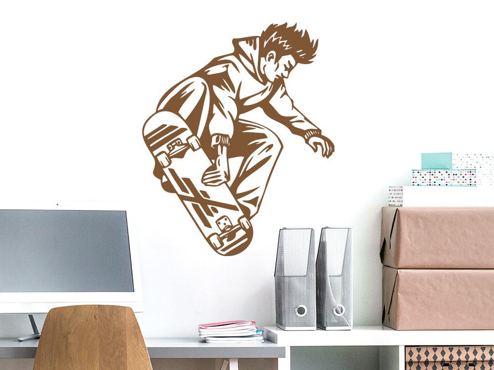 Cooles Skater Wandtattoo mit springendem Skateboarder
