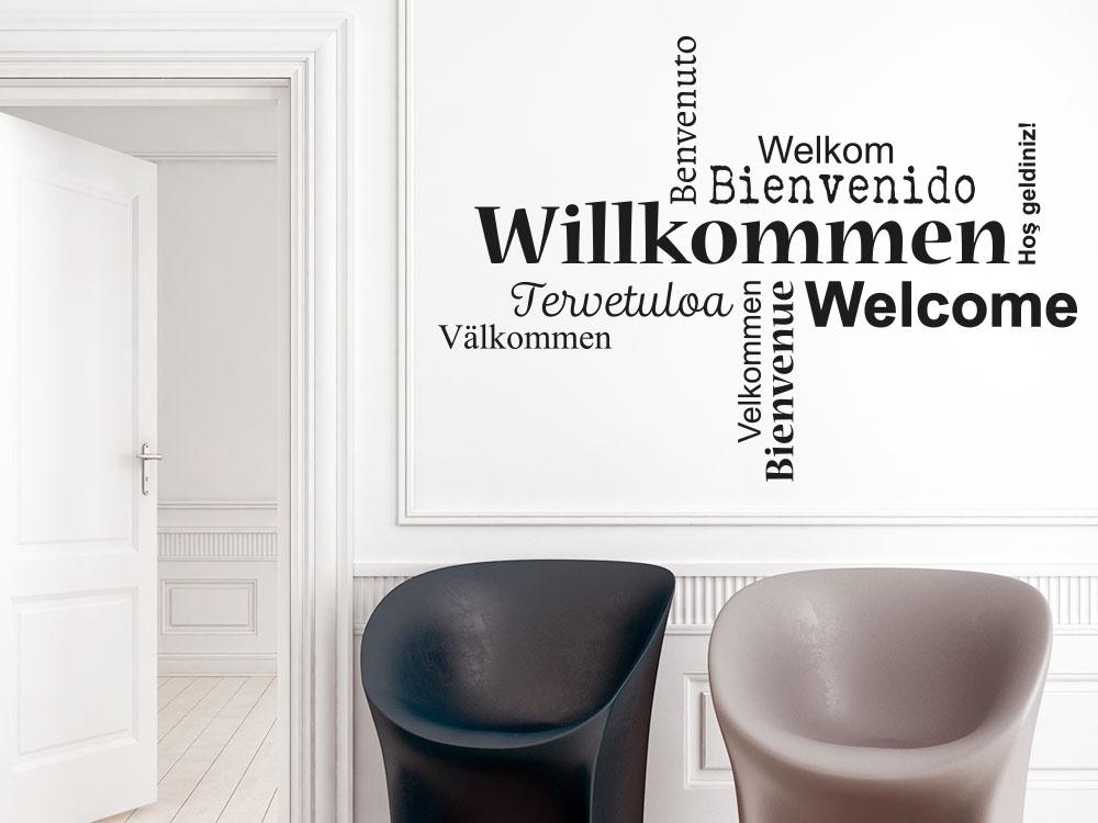 Wanddeko im Flur: Wandtattoo Willkommen Wortwolke Sprachen