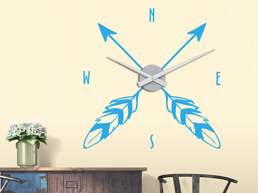 Wandtattoo Uhr Kompass Pfeil mit Feder