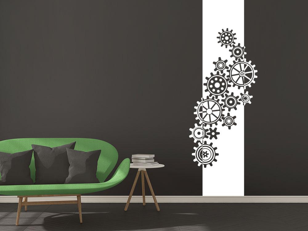 Wandbanner Zahnräder auf dunkler Wand in der Farbe Weiß