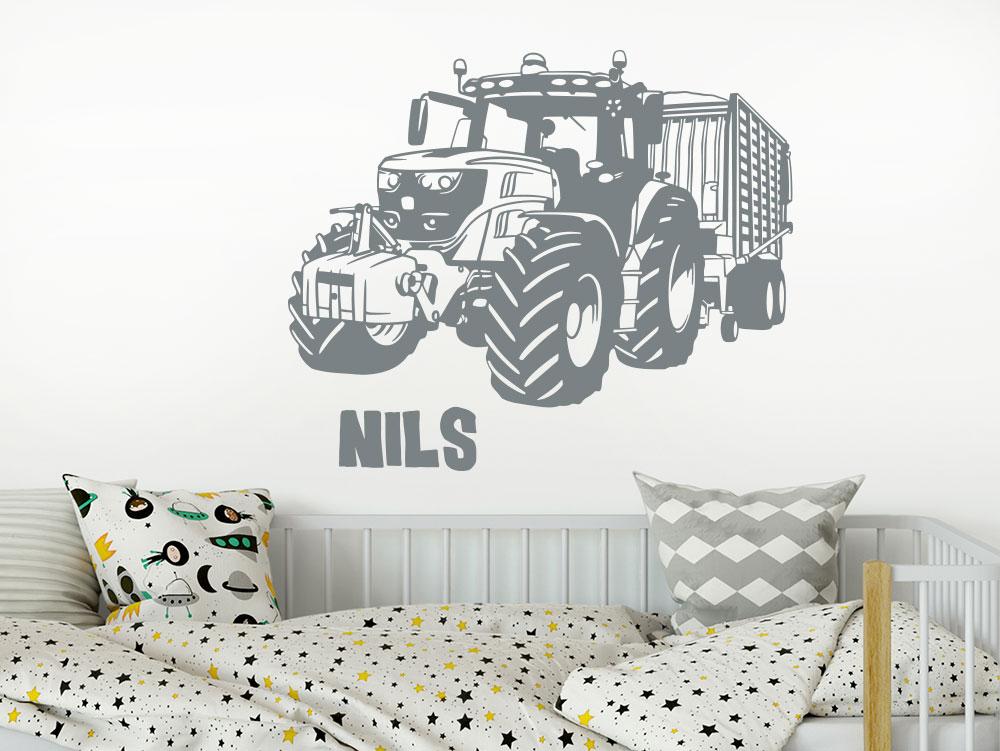 Wandtattoo Traktor mit Name und Anhänger
