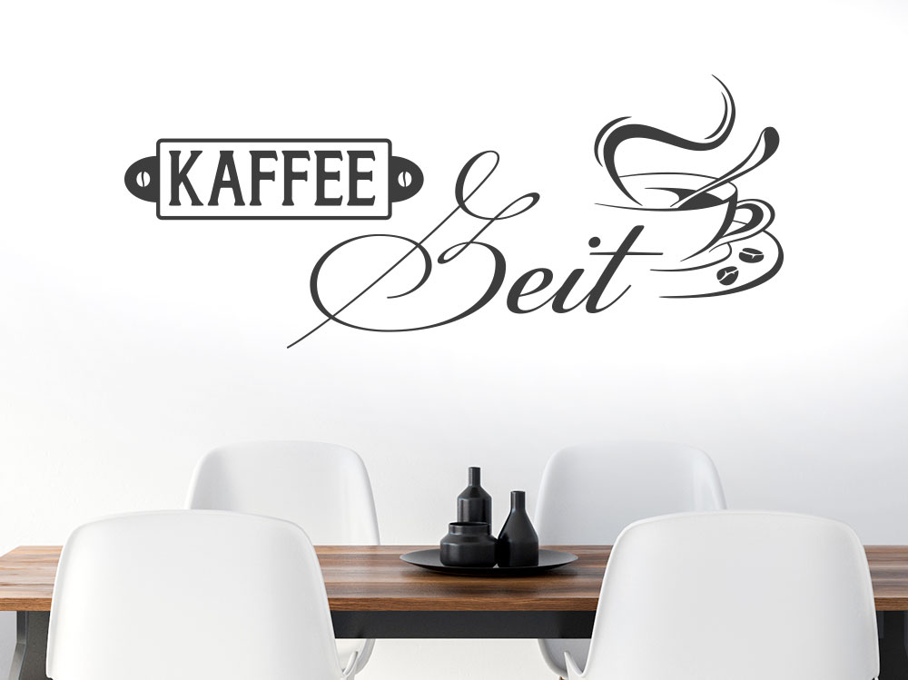 Kaffee Zeit Wandtattoo auf heller Wand