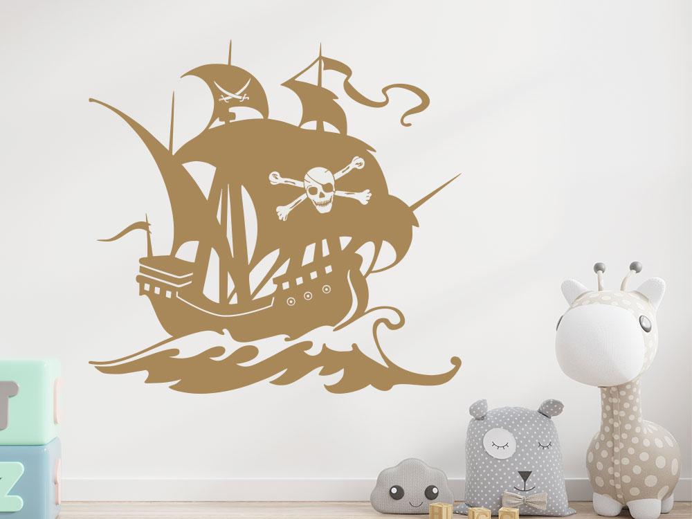 Wandtattoo Piratenschiff im Kinderzimmer