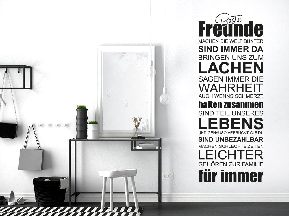 Wandtattoo Spruchband Beste Freunde im Flur