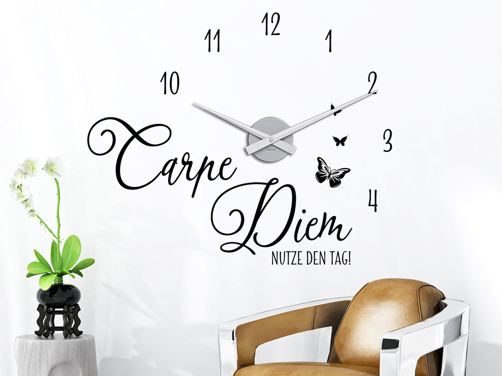 wandtattoo uhr carpe diem von klebeheld de. Black Bedroom Furniture Sets. Home Design Ideas