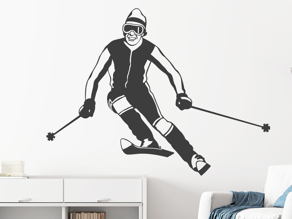 Wandtattoo Skifahrer