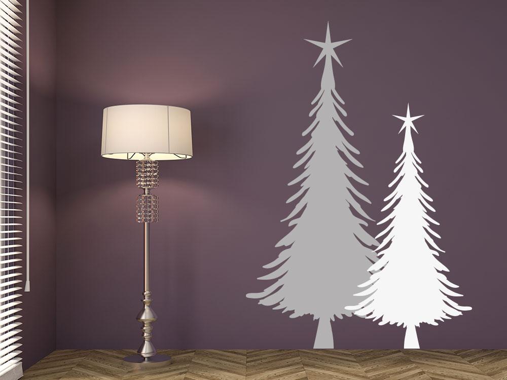 Wandtattoo Weihnachtstannen zweifarbig auf dunkler Wand