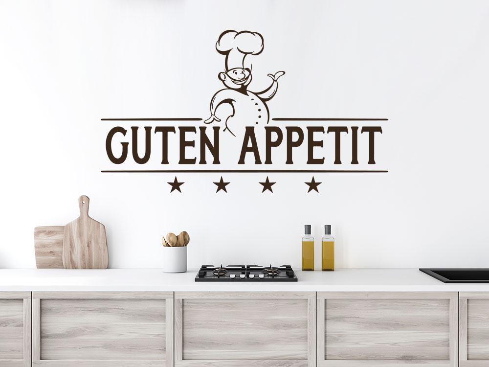 Wandtattoo Guten Appetit mit Chefkoch