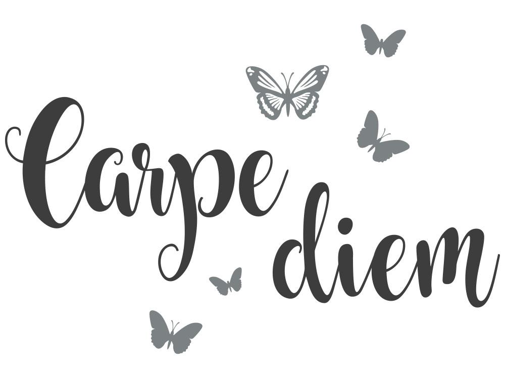 Wandtattoo Carpe Diem mit Schmetterlingen Gesamtansicht Motiv
