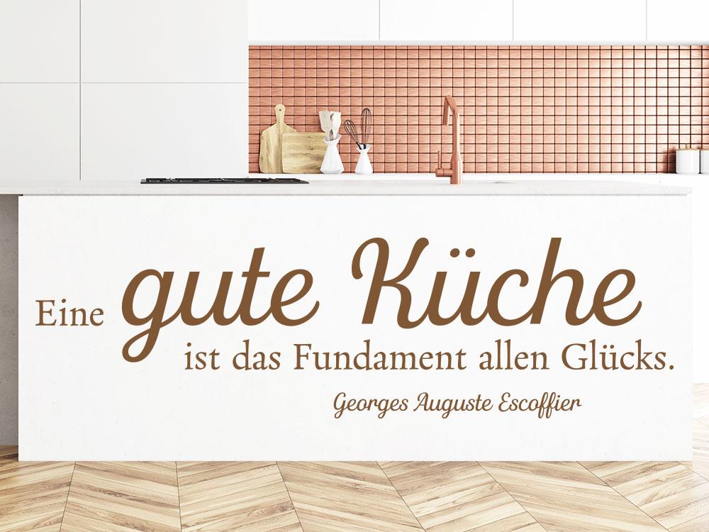 Wandtattoo Eine gute Küche ist das Fundament auf Küchenblock