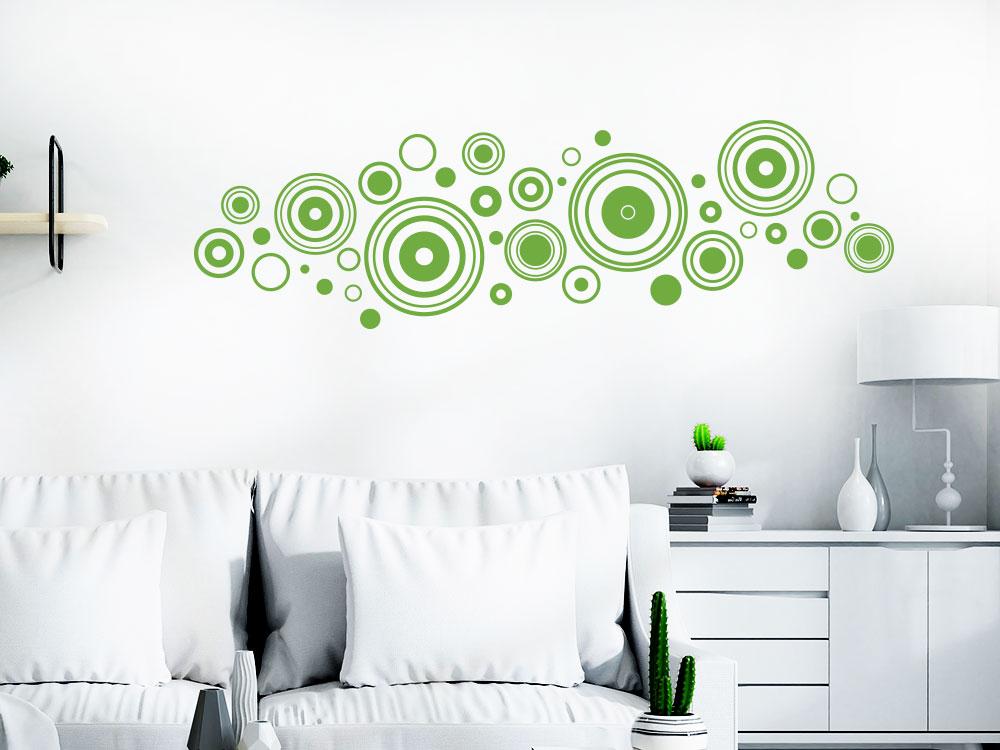 Wandtattoo Ornament Retro Kreise im Wohnzimmer
