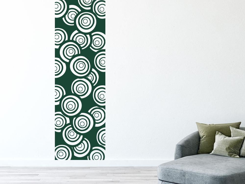 Wandtattoo Wandbanner abstrakte Kreise raumhoch angebracht