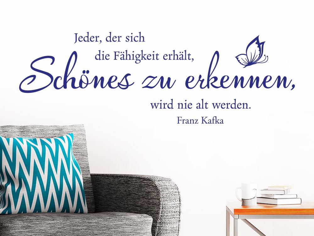 Wandtattoo Schönes zu erkennen… über Sessel im Wohnzimmer