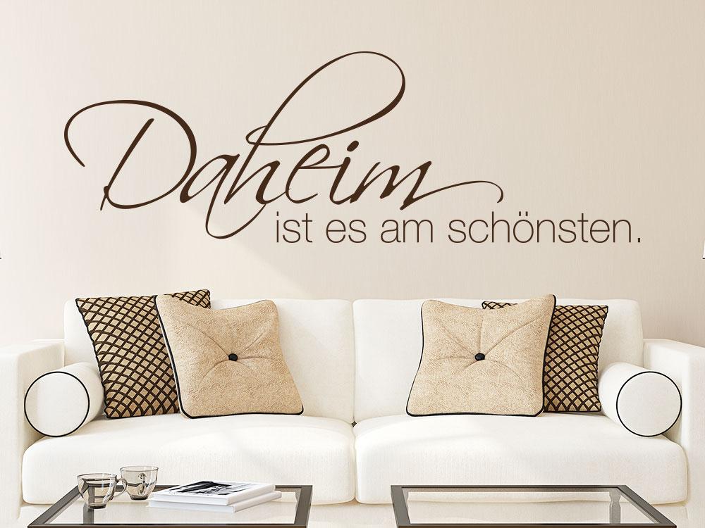 Wandtattoo Daheim ist es am schönsten in Farbe im Wohnbereich