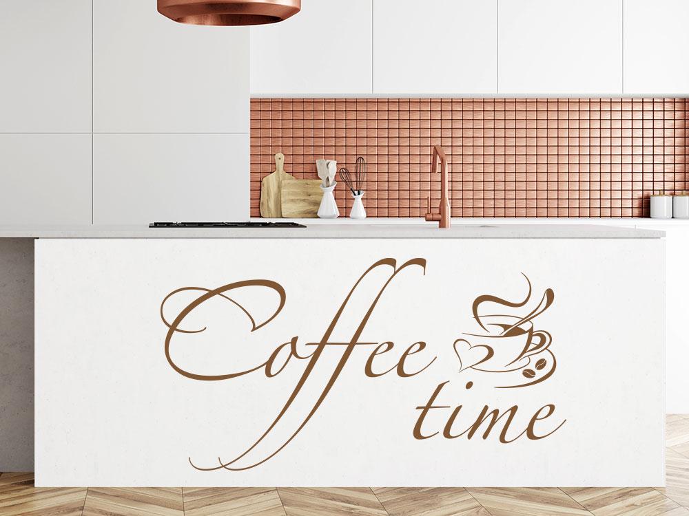 Wandtattoo Coffee time auf Küchenblock