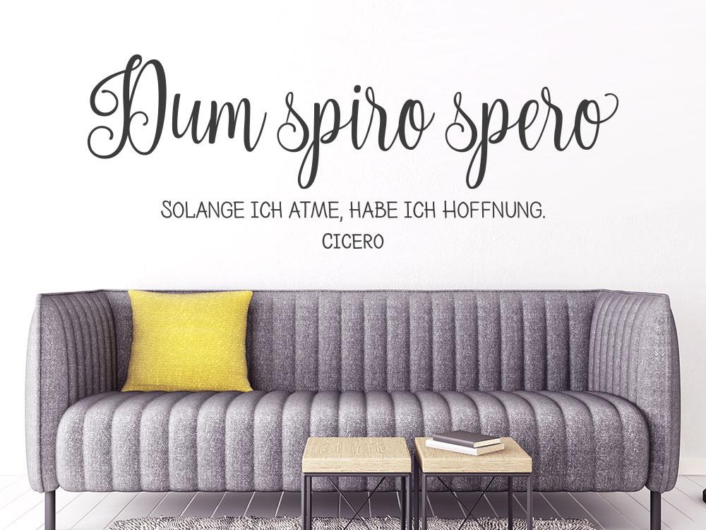 Wandtattoo Spruch Dum spiro spero im Wohnzimmer