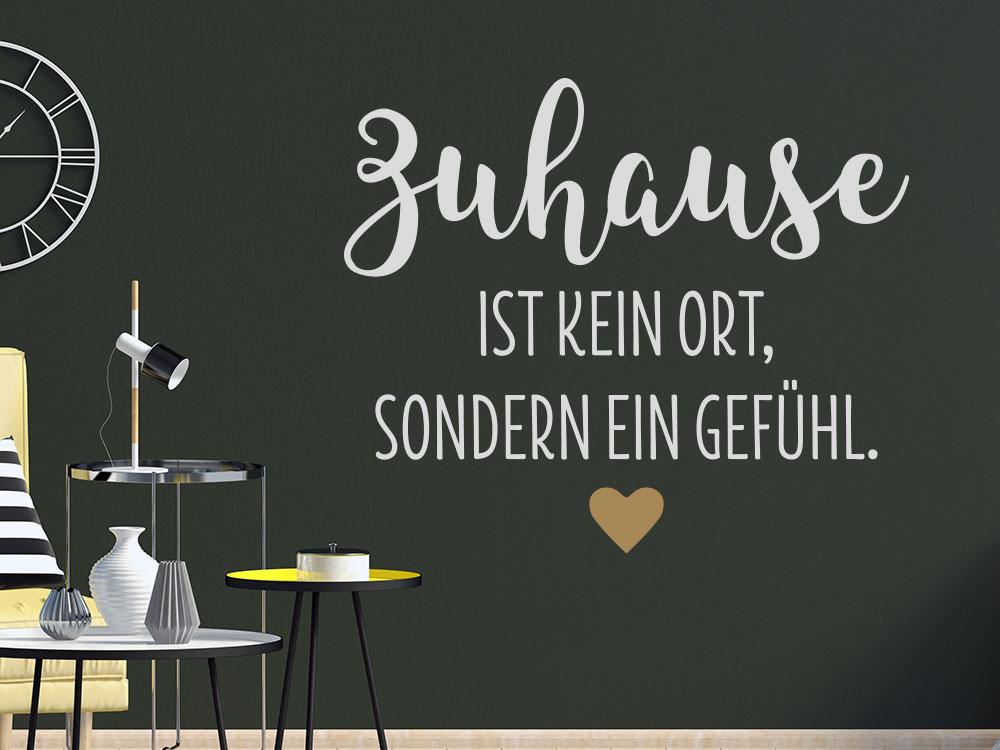 Wandtattoo Spruch Zuhause mit Herz im Wohnzimmer