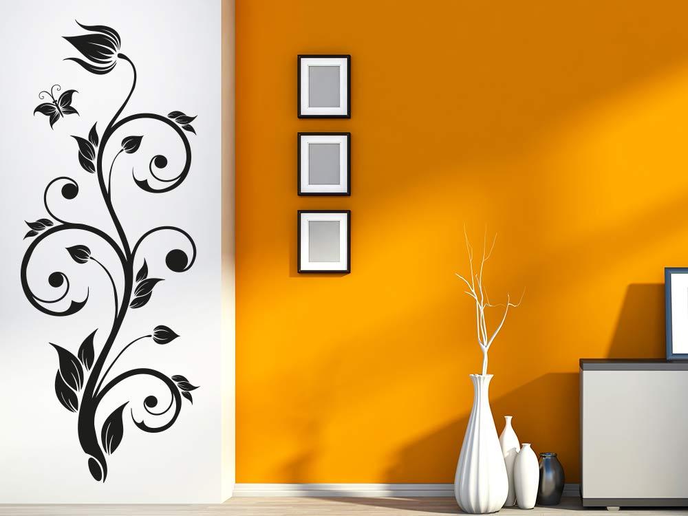 Wandtattoo Dekorative Blütenranke