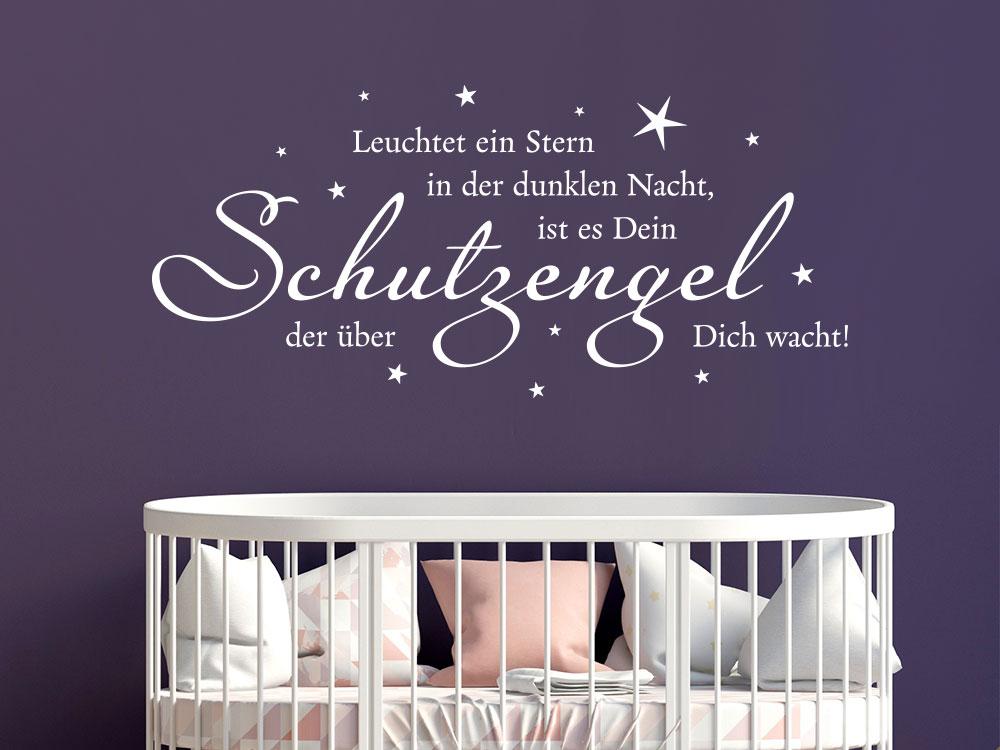 Wandtattoo Leuchtet ein Stern in der dunklen Nacht... Schutzengel Spruch fürs Kinderzimmer