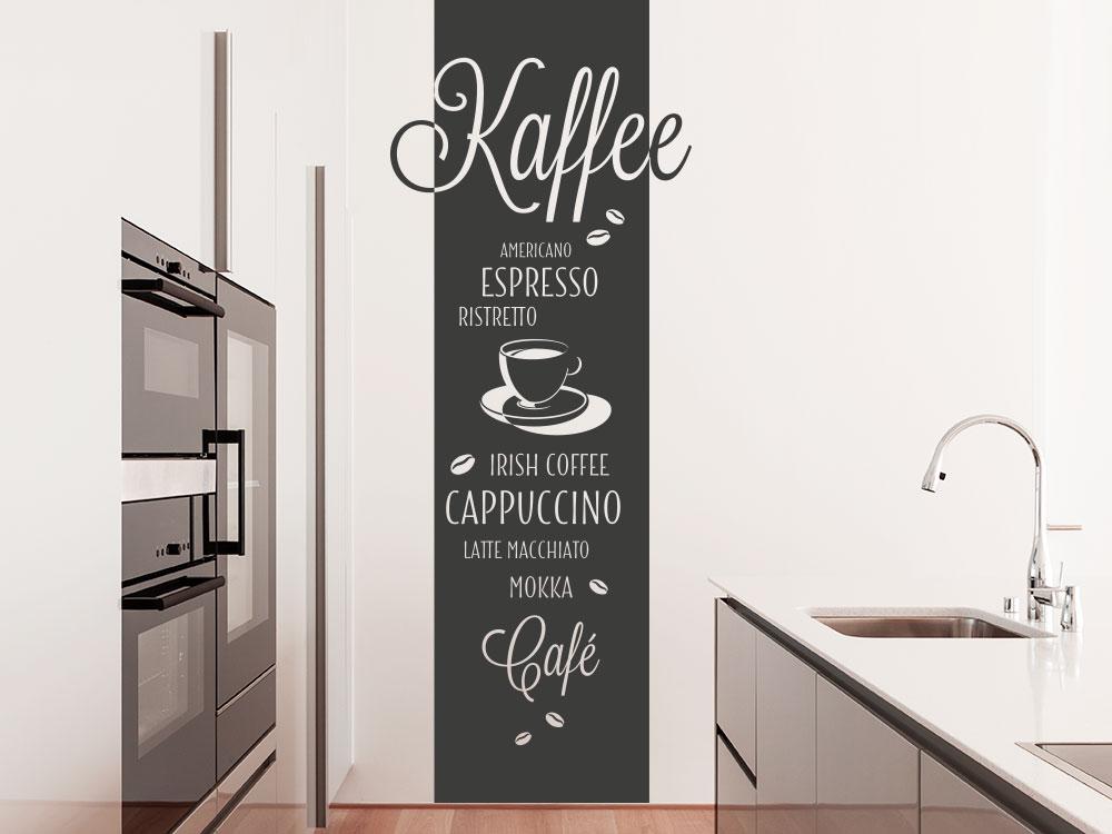 Wandtattoo Kaffeesorten Banner auf heller Wand im Küche