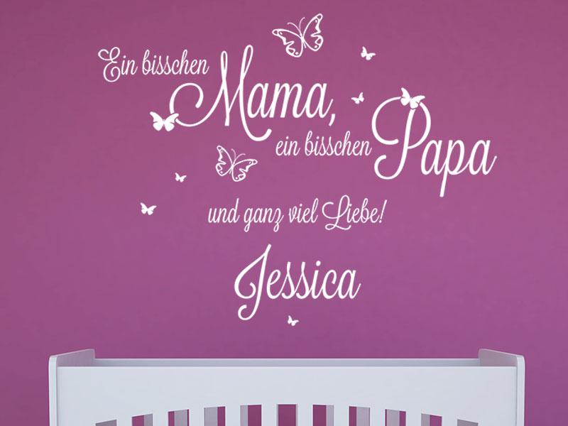 Wandtattoo Mama, Papa und ganz viel Liebe