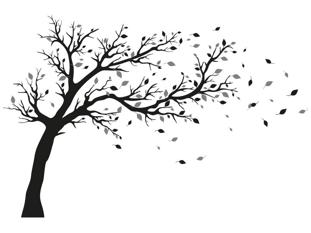 Wandtattoo Baum zweifarbig Gesamtansicht