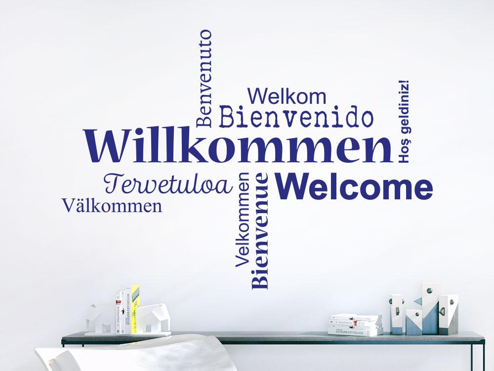 Wandtattoo Willkommen Wortwolke viele Sprachen im Flur