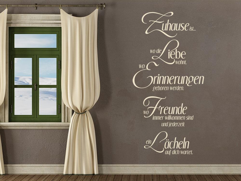 Wandtattoo Zuhause ist wo die Liebe wohnt wo Erinnerungen geboren werden neben Fenster im Flur