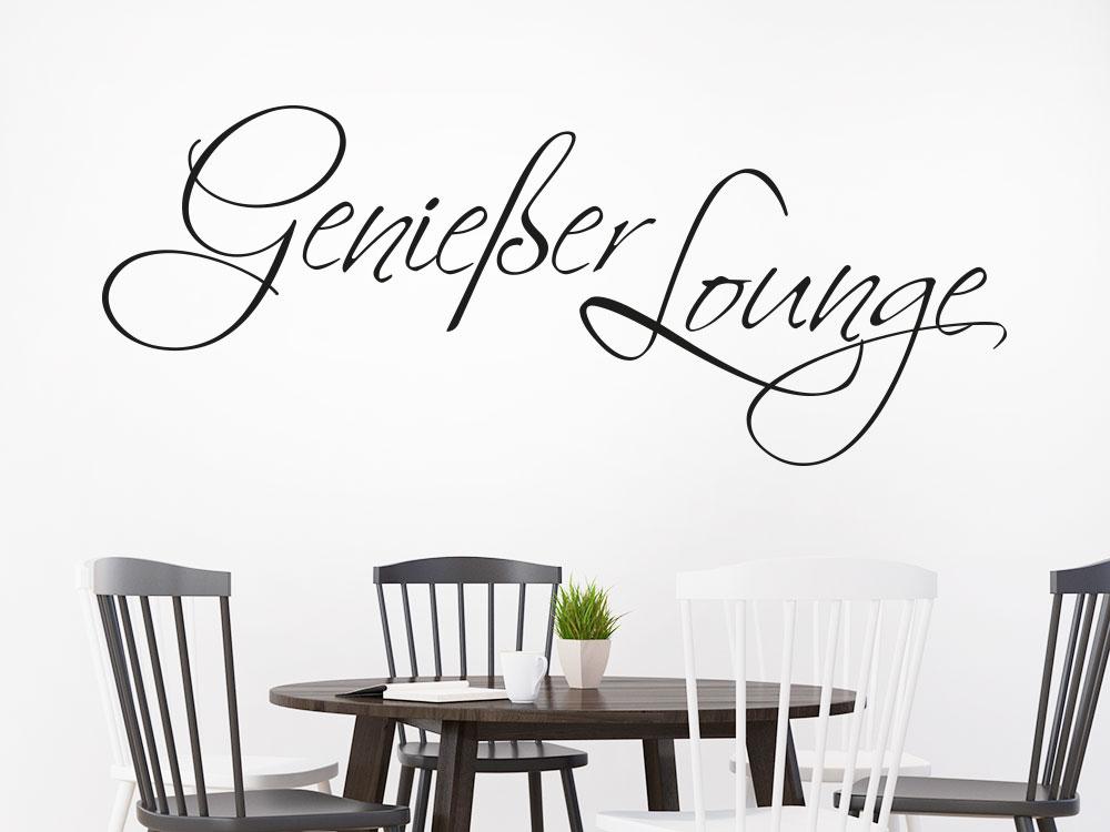Genießer Lounge Wandtattoo Farbe Schwarz im Esszimmer
